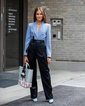 bag,tote bag,acne studios,black pants,high waisted  pants,shoes,blazer