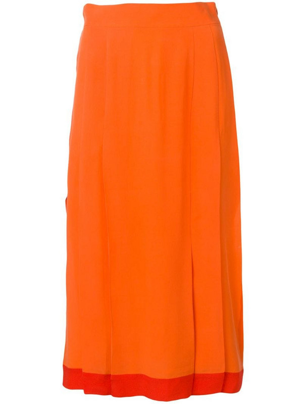 Cashmere In Love high-waisted pleated skirt in orange