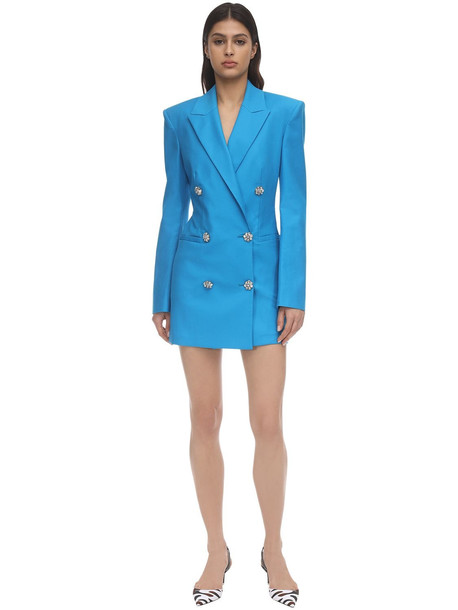 THE ATTICO Stretch Cotton Blazer Mini Dress W/jewel in blue