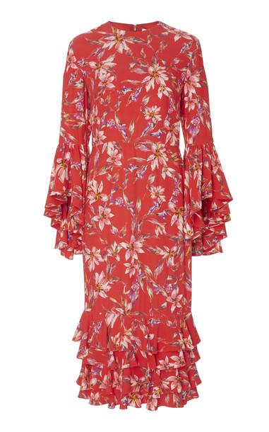 AMUR Alexia Printed Crepe Midi Dress Size: 0