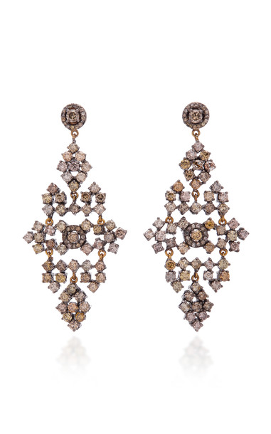 Sanjay Kasliwal 14K Gold Silver And Diamond Earrings in white