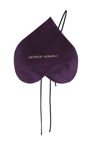 George Keburia Logo Embroidered Velvet Heart Top in purple
