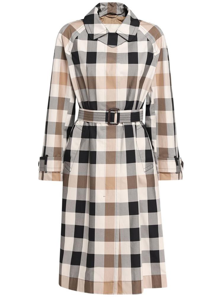 MAX MARA Check Cotton Gabardine Trench Coat