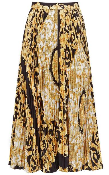 Versace Gold Hibiscus-print Pleated Silk Skirt