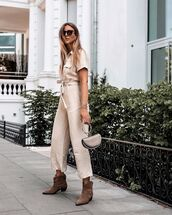 jumpsuit,ankle boots,bag,handbag