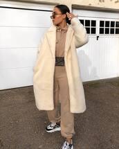 coat,oversized coat,sneakers,versace,tracksuit,louis vuitton bag,belt bag,sunglasses