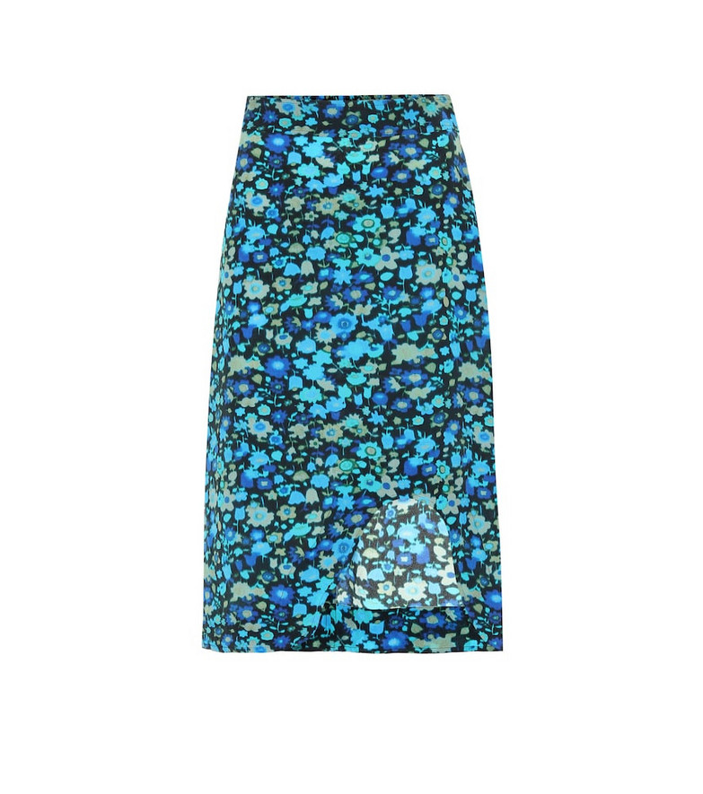 Ganni Floral silk-blend skirt in blue