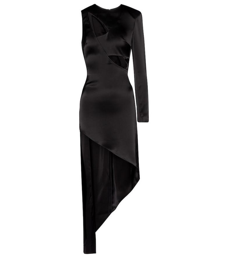 David Koma Cut-out asymmetric satin minidress in black