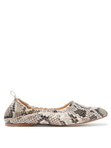 A.P.C. A.p.c. - Rosa Python-embossed Leather Ballet Flats - Womens - White Multi