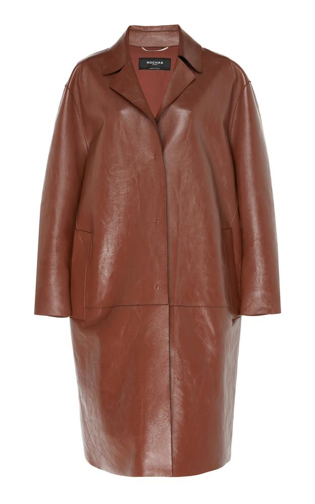 Rochas Notch-Lapel Leather Coat Size: 42 in brown