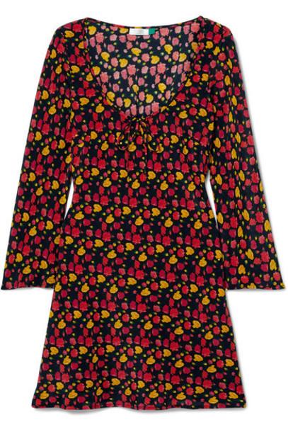RIXO - Celeste Floral-print Silk Crepe De Chine Mini Dress - Black