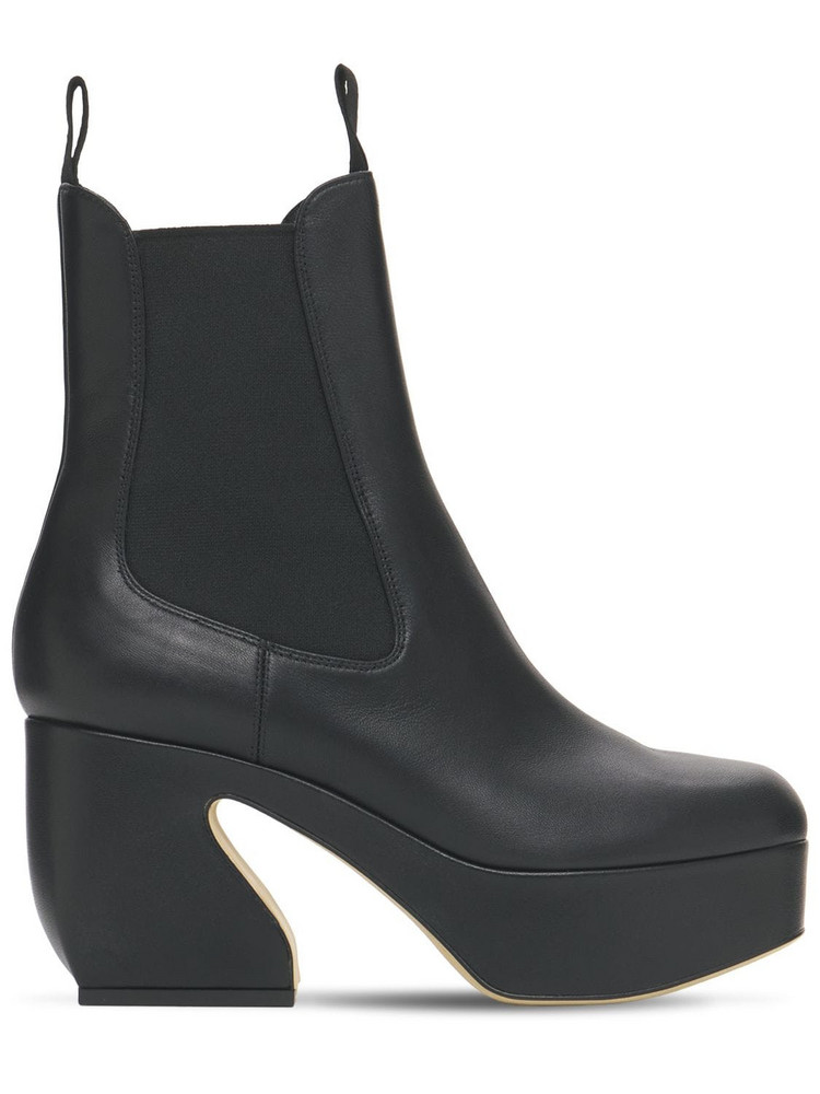 SI ROSSI 85mm Platform Leather Ankle Boots in black