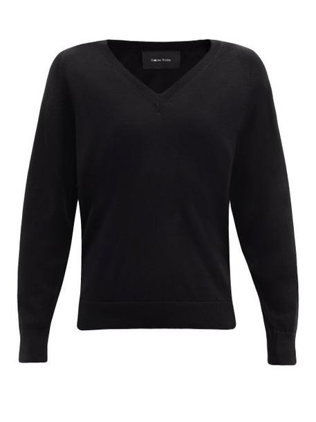 Simone Rocha - Faux Pearl-embellished Cut-out Wool-blend Sweater - Womens - Black