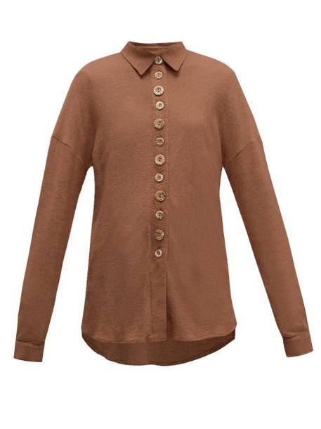 Albus Lumen - Petram Traveller Oversized Cotton Blend Shirt - Womens - Brown