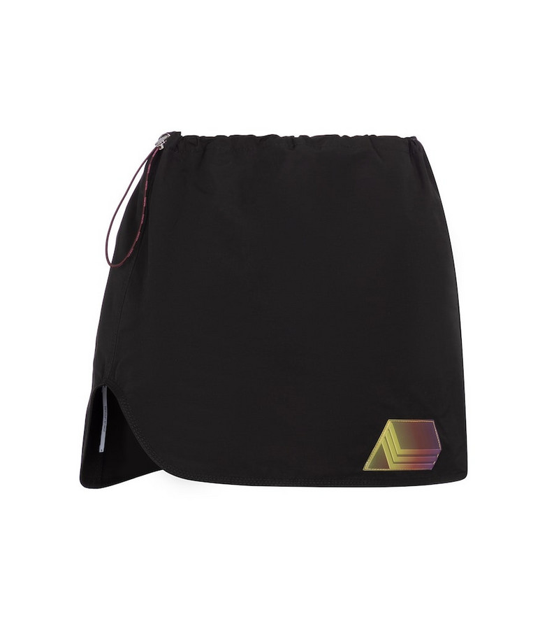 The Attico Giana drawstring canvas miniskirt in black