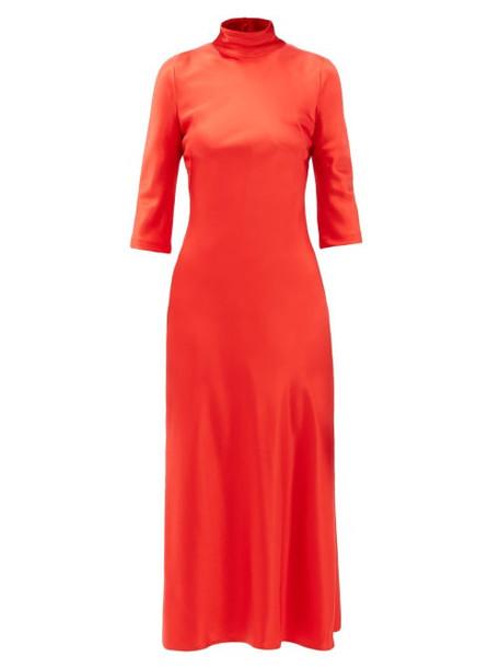 Galvan - Margot High-neck Silk Dress - Womens - Red