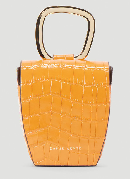 Danse Lente Embossed Leather Box Bag in Orange size One Size