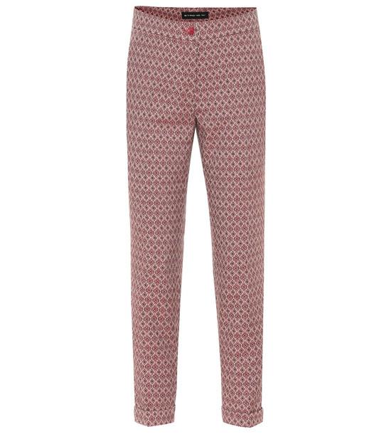 Etro Wool-blend jacquard skinny pants in red