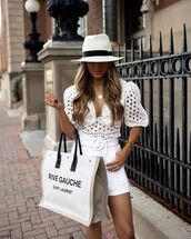 top,white top,crop tops,white shorts,maxi bag,hat