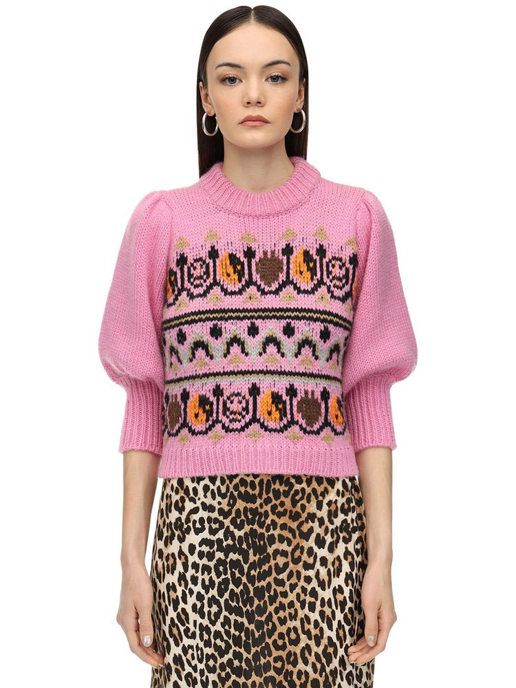 GANNI Hand Knit Wool Blend Intarsia Sweater in pink / multi