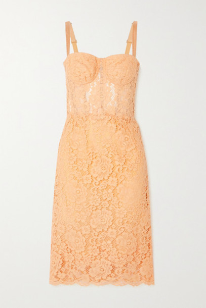Dolce & Gabbana - Cotton-blend Corded Lace Midi Dress - Coral