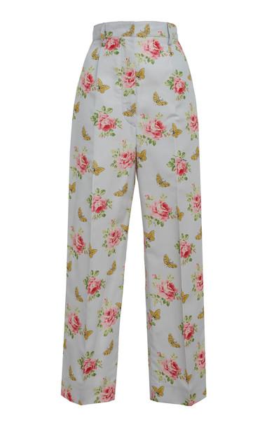 Prada Floral Printed Silk Trousers
