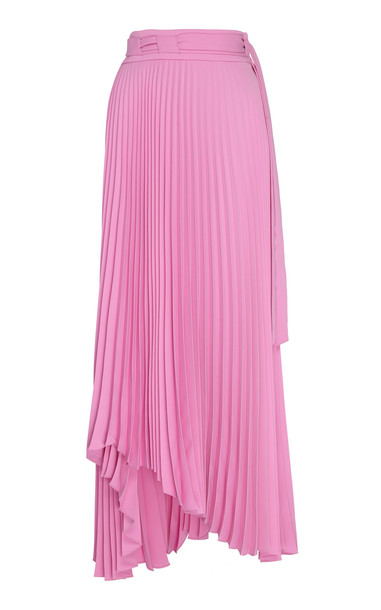 A.W.A.K.E. A.W.A.K.E. Pleated Asymmetric Midi Skirt Size: 36 in pink