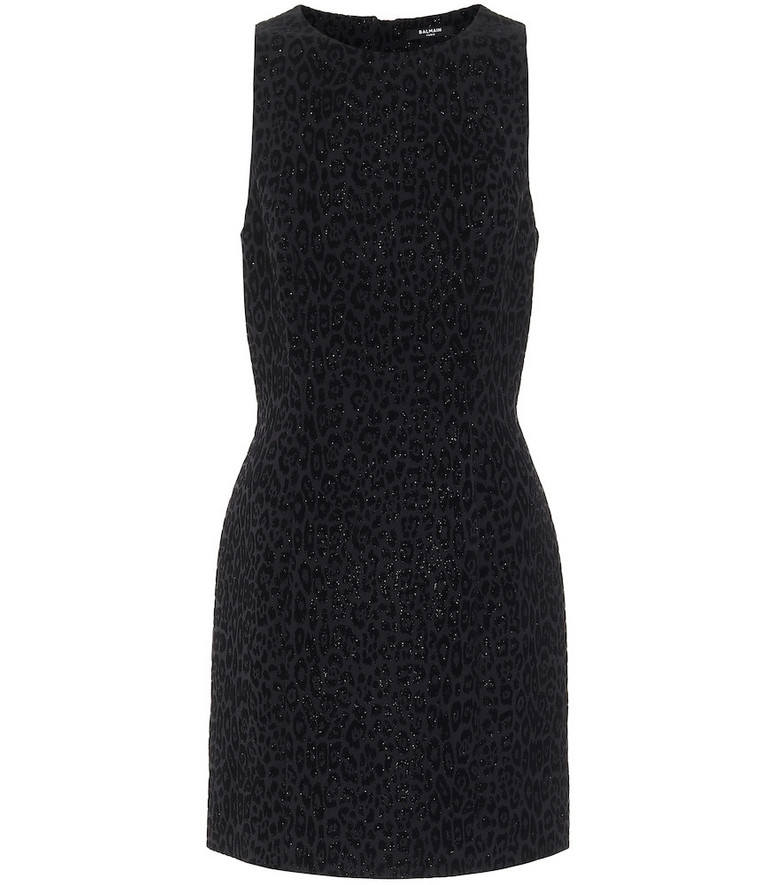 Balmain Leopard velvet jacquard minidress in black