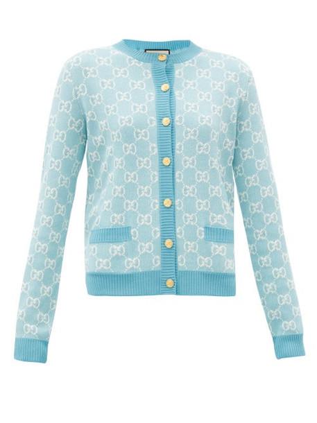 Gucci - GG-jacquard Wool-blend Cardigan - Womens - Blue White