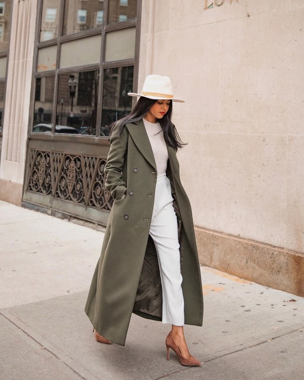 coat long coat double breasted pumps white pants high waisted pants white top hat