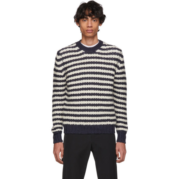 Prada Off-White & Navy Alpaca Striped Sweater
