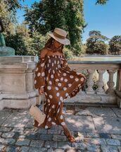 dress,midi dress,polka dots,off the shoulder dress,slide shoes,bag,hat