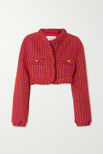 Valentino - Cropped Metallic Wool-blend Tweed Jacket - Orange