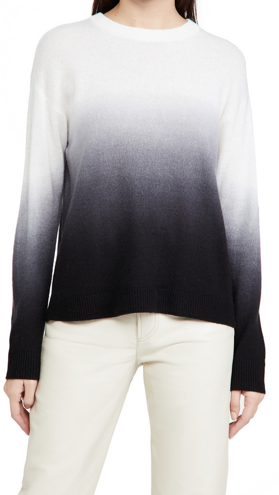 alice + olivia alice + olivia Gleeson Dip Dye Pullover Cashmere Sweater in black / white