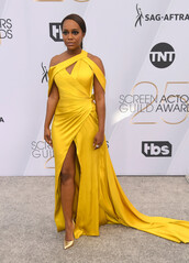 dress,Aja Naomi King,celebrity,celebrity style,red carpet dress,gown,prom dress,asymmetrical,asymmetrical dress