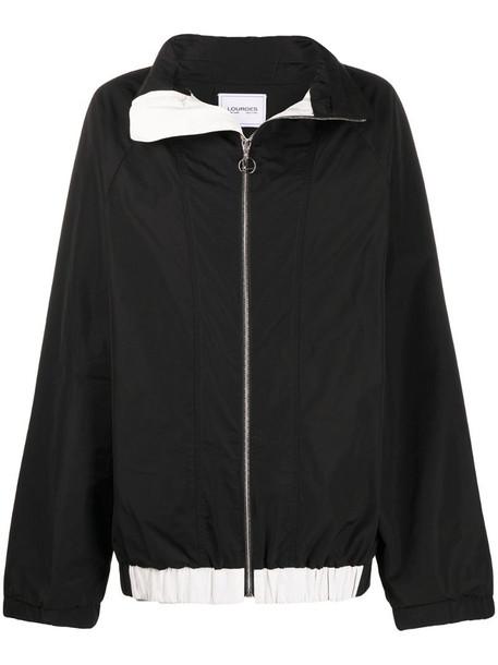 Lourdes spread collar zip-up jacket in black
