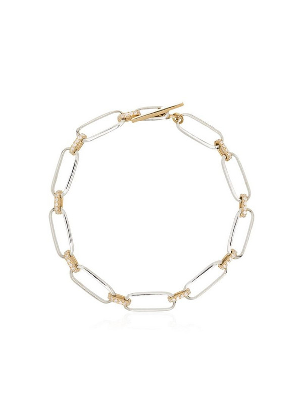 Lizzie Mandler Fine Jewelry 18kt gold chain link diamond-embellished bracelet
