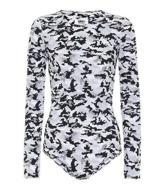 MM6 Maison Margiela Camo stretch-jersey bodysuit in grey