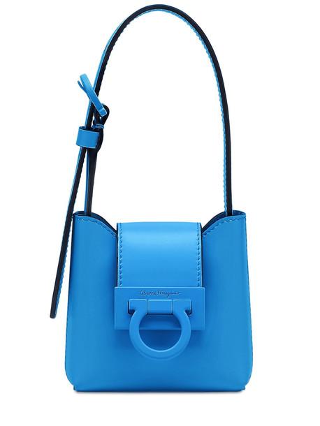 SALVATORE FERRAGAMO Mini Trifolio Leather Shoulder Bag in blue