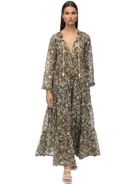 YVONNE S Cotton Voile Maxi Hippy Dress in green