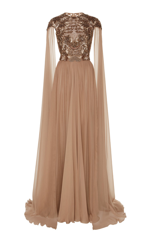 Zuhair Murad Ikebana Embroidered Chiffon Gown in neutral