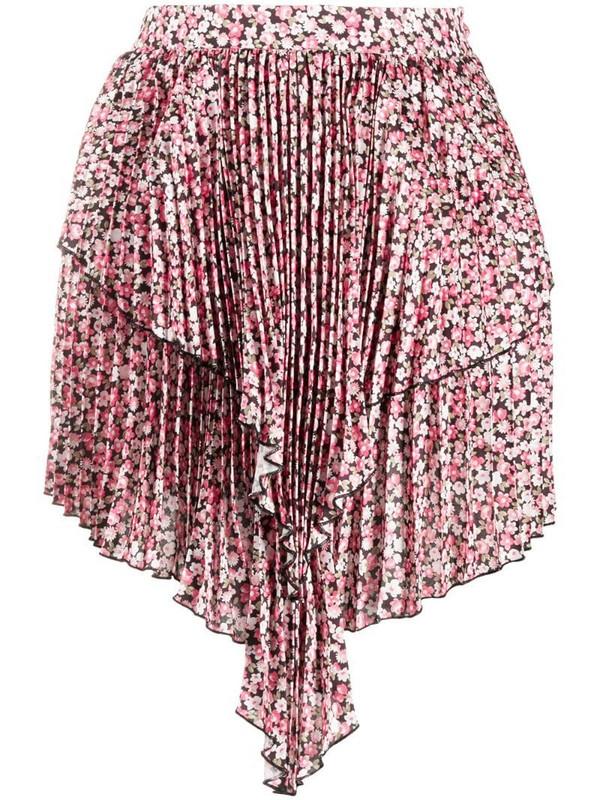 Wandering waterfall hem asymmetric mini skirt in pink