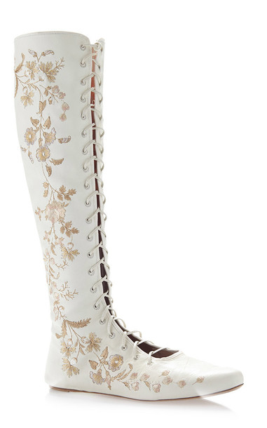 Etro Ivory Floral Embroidered Leather Flat Front Lace Boots Size: 38