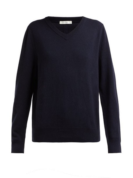 The Row - Maley V Neck Cashmere Sweater - Womens - Navy