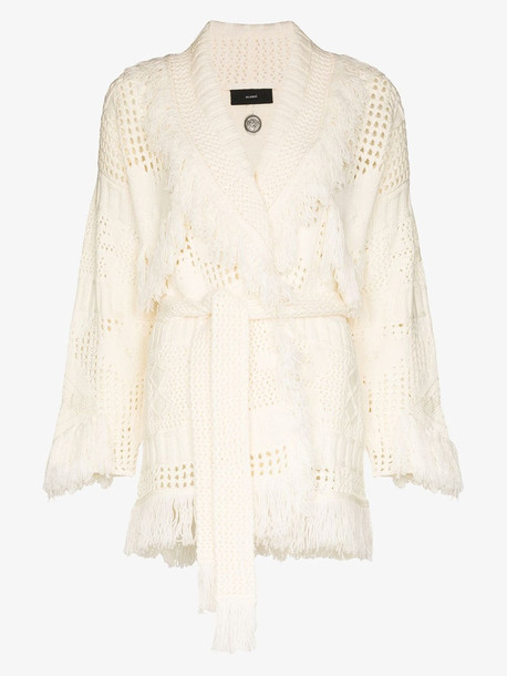 Alanui Icon knitted cardigan in white