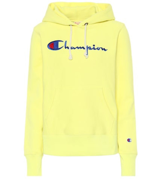 Champion Logo cotton hoodie in yellow