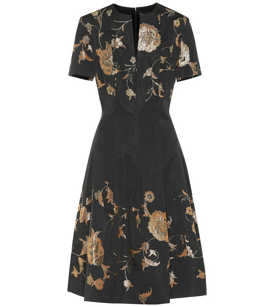 Oscar de la Renta Floral silk-blend brocade dress in black