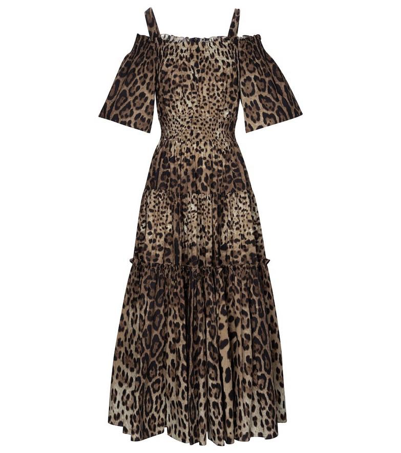 Dolce & Gabbana Leopard-print cotton midi dress in brown