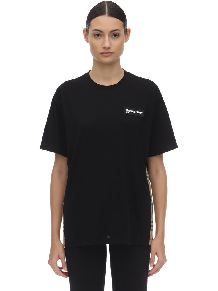 BURBERRY Jersey T-shirt W/ Checked Side Bands in black