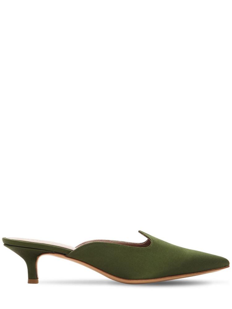 LE MONDE BERYL 30mm Satin Kitten Heel Mules in green